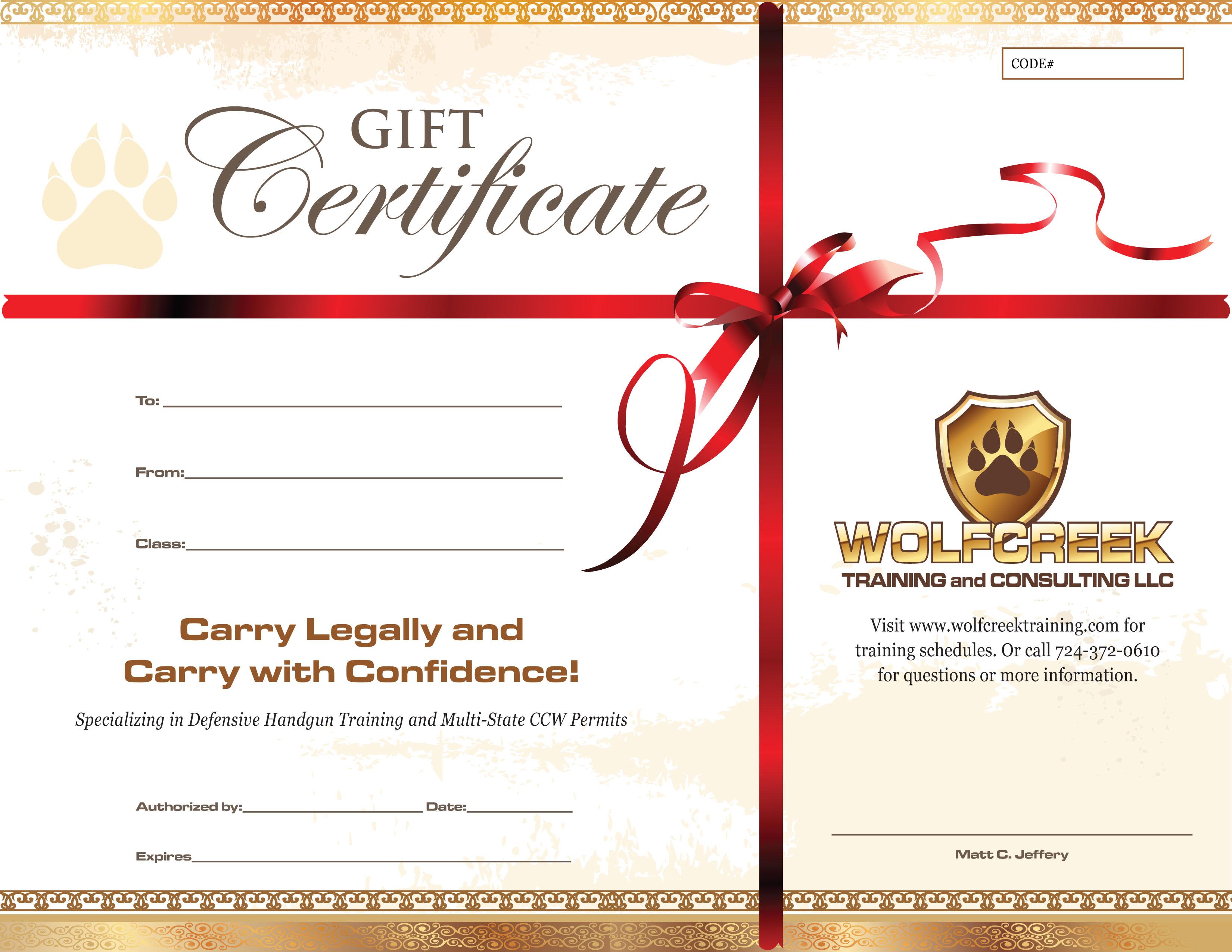 Wolfcreek Gift Certificates
